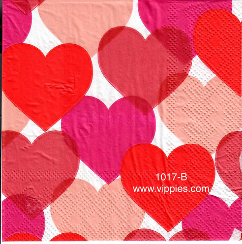 LVY-1017 Overlapping Big Hearts Napkin for Decoupage