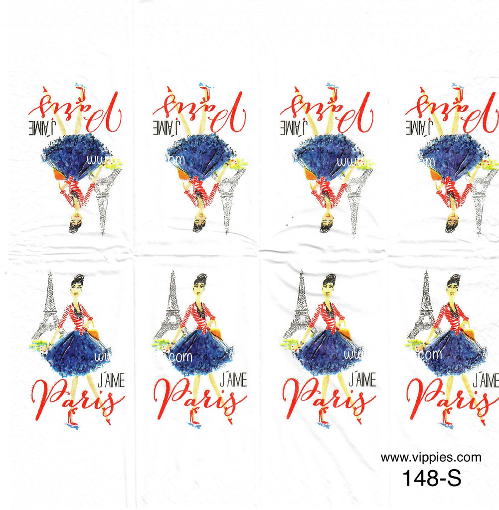 LVY-148 J'aime Paris Girl Sniffer Napkin for Decoupage