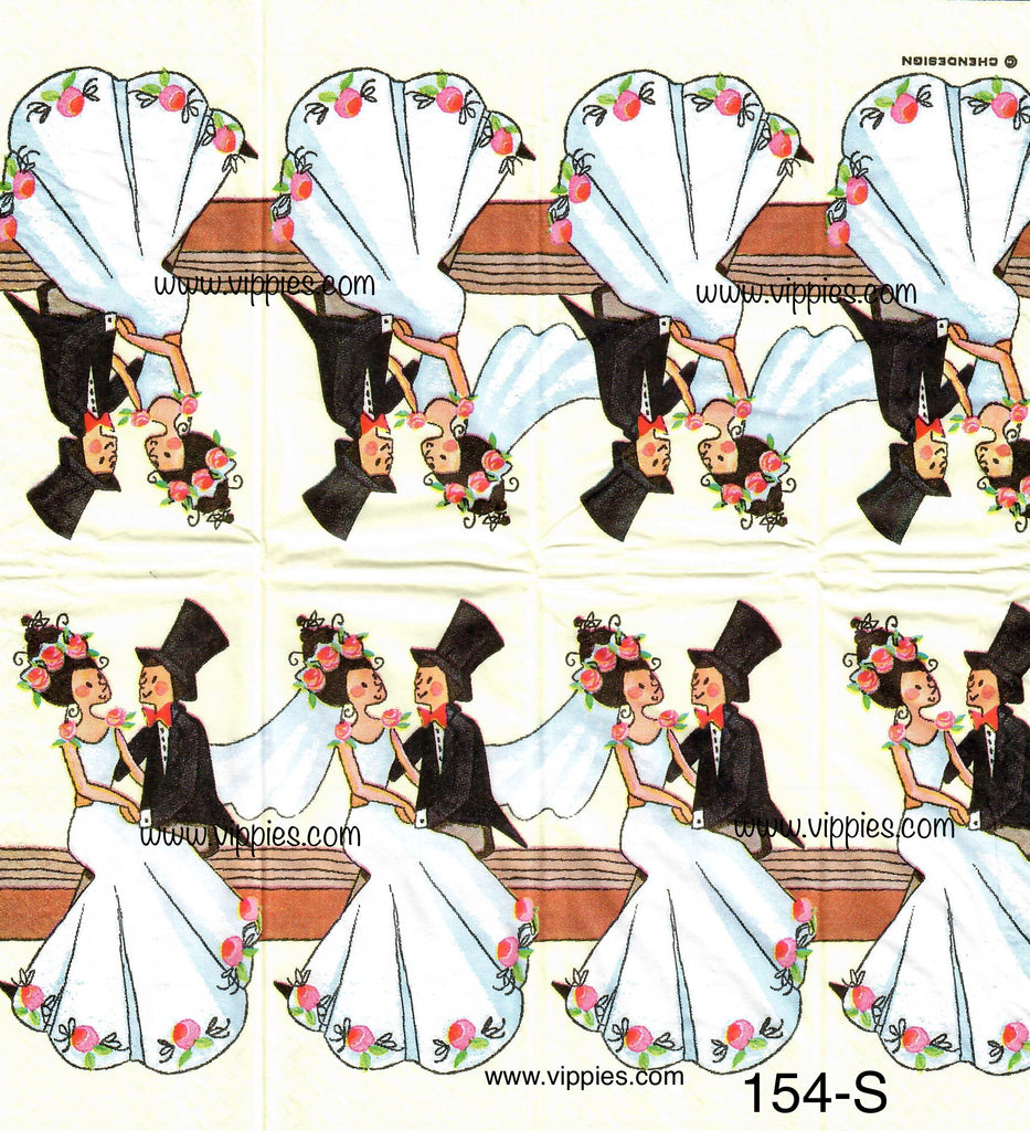 LVY-154 Wedding Bride and Groom Sniffer Napkin for Decoupage
