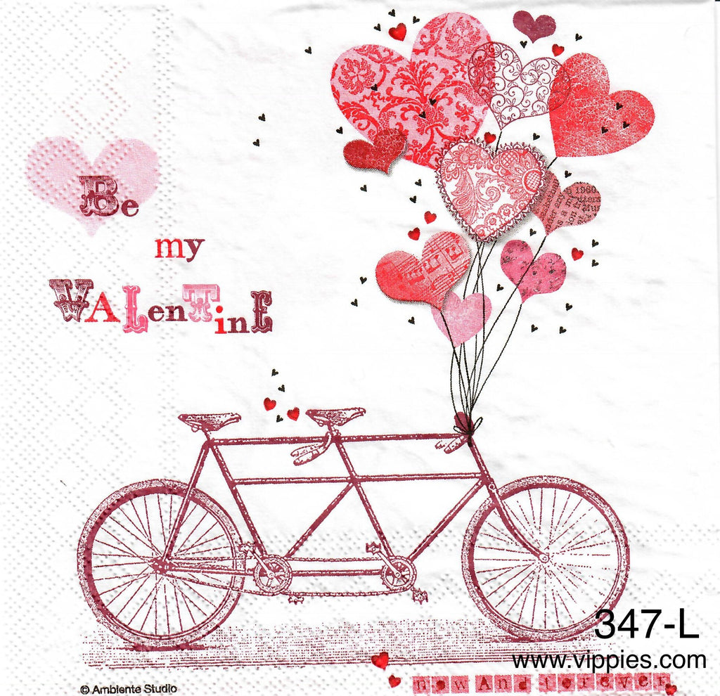 LVY-347 Be My Valentine Bike Napkin for Decoupage