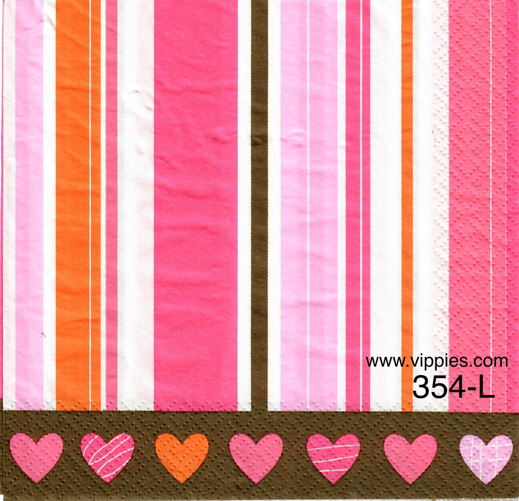 LVY-354 Hearts Stripes Napkin for Decoupage