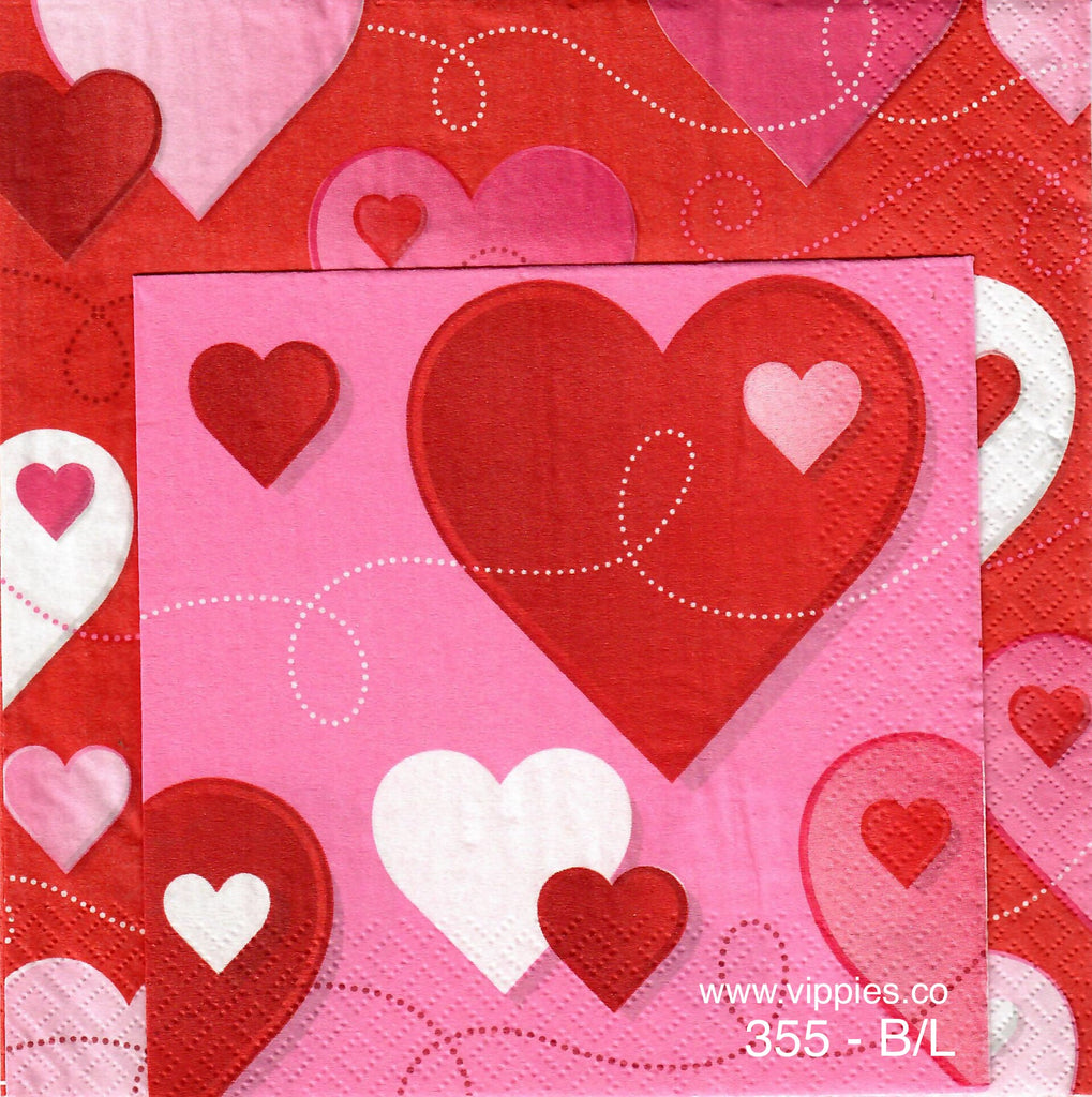 LVY-355 Hearts and Swirls Napkin for Decoupage