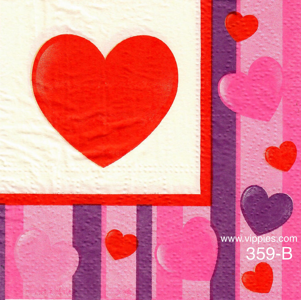 LVY-359 Large Heart Hearts on Stripes Napkin for Decoupage