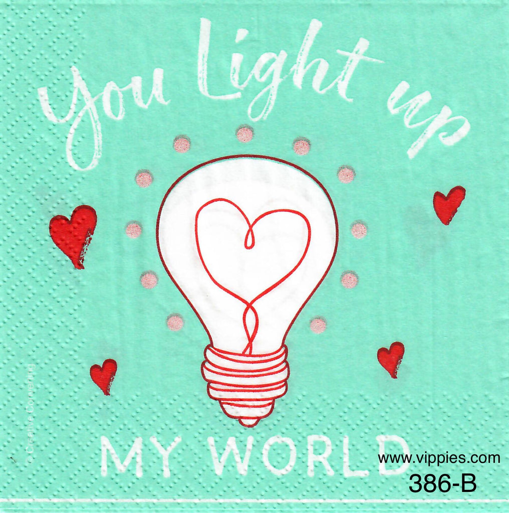 LVY-386 You Light Up My World Napkin for Decoupage