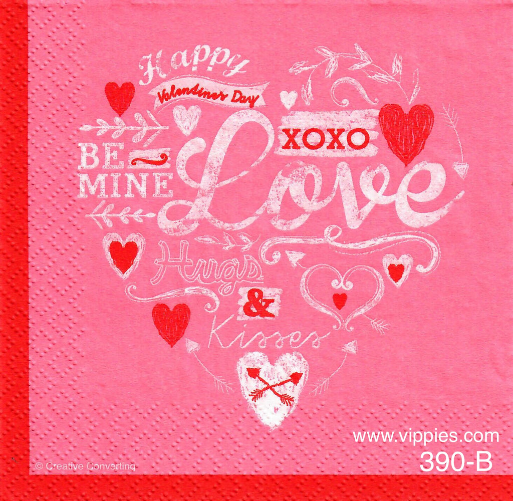 LVY-390 Valentine Words in Heart Napkin for Decoupage