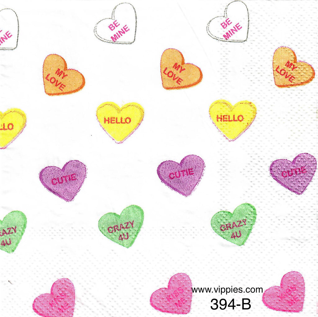 LVY-394 Message Candy Hearts Napkin for Decoupage