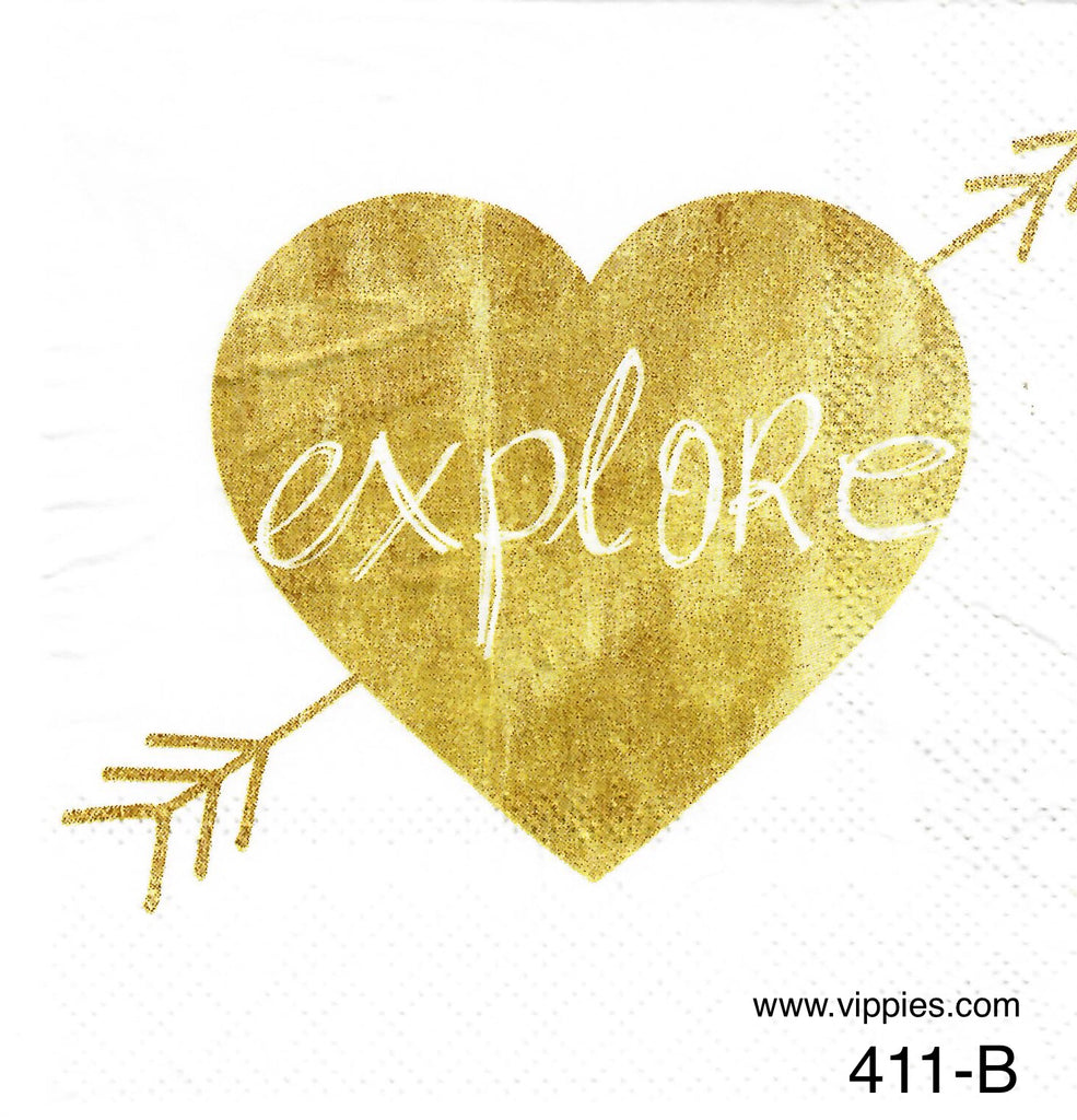 LVY-411 Explore Heart Napkin for Decoupage