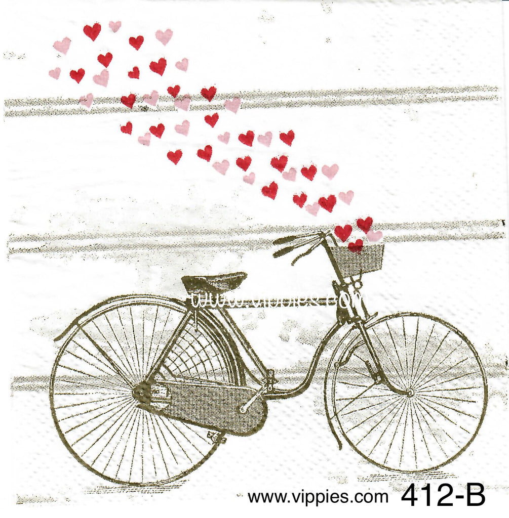 LVY-412 Bike Hearts Napkin for Decoupage