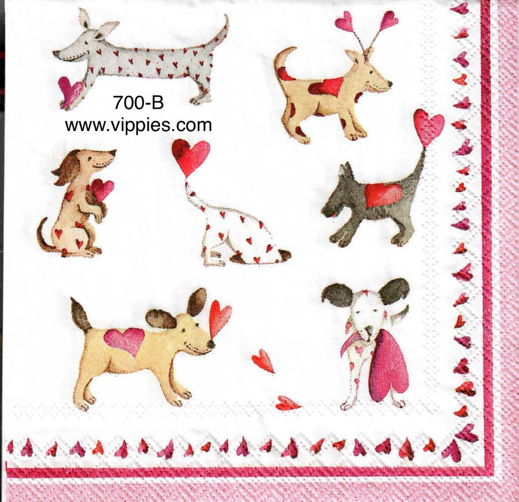 LVY-670 Valentine Dogs Napkin for Decoupage