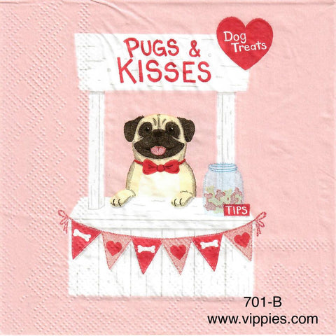 LVY-671 Pugs and Kisses Napkin for Decoupage