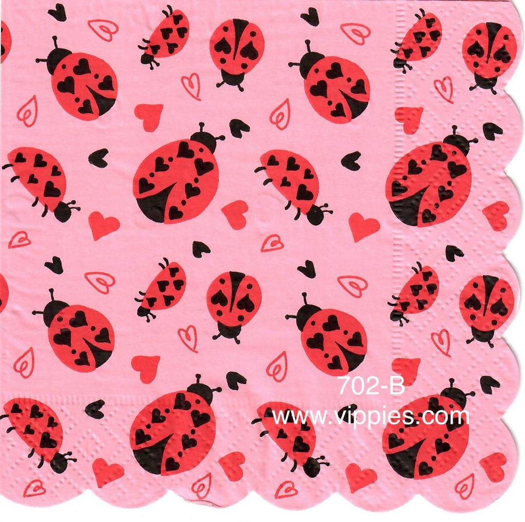 LVY-672 Lady Bug Hearts Napkin for Decoupage