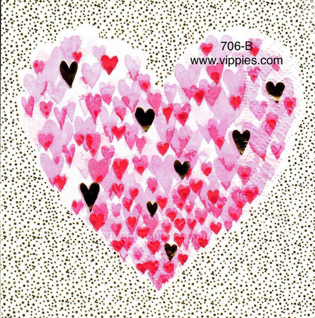 LVY-676 Hearts Dot Background Napkin for Decoupage