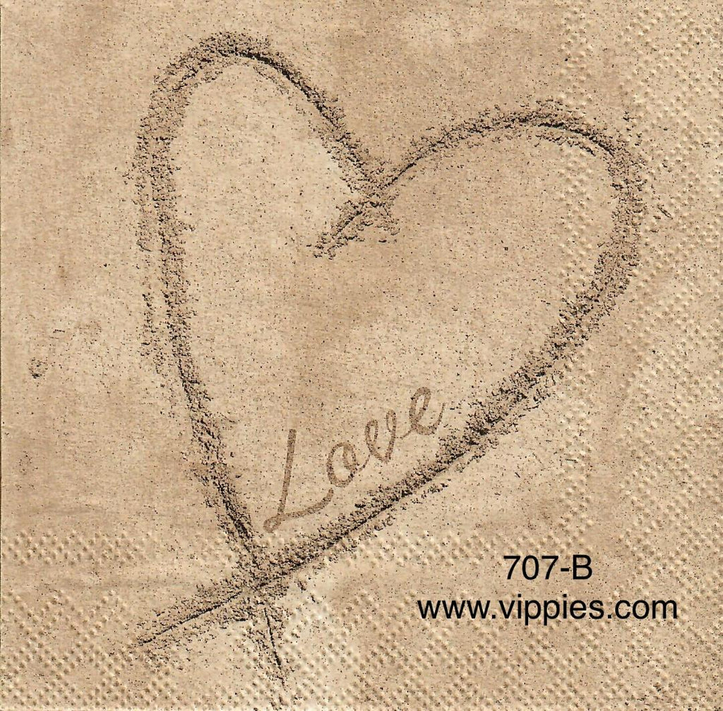 LVY-677 Love Heart in Sand Napkin for Decoupage