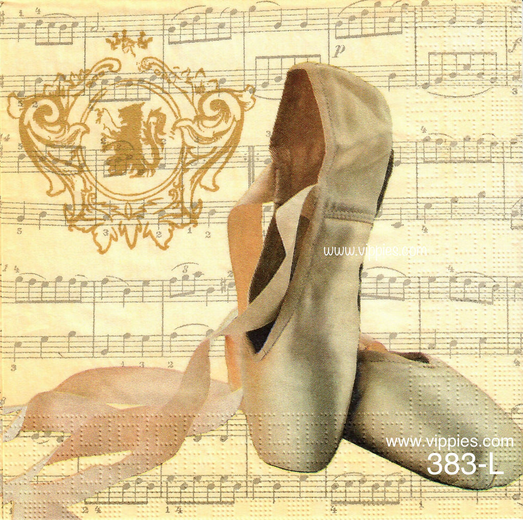 MUS-383 Ballet Shoes Music Napkin for Decoupage