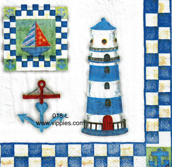 NS-018 Lighthouse Gull Blue Check Border Napkin for Decoupage