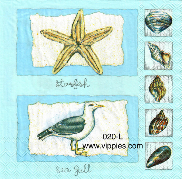 NS-020 Feather Seagull Napkin for Decoupage