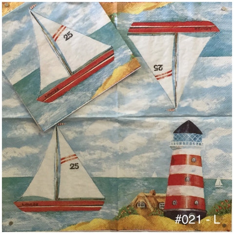 NS-021 Sailboat Lighthouse Napkin for Decoupage
