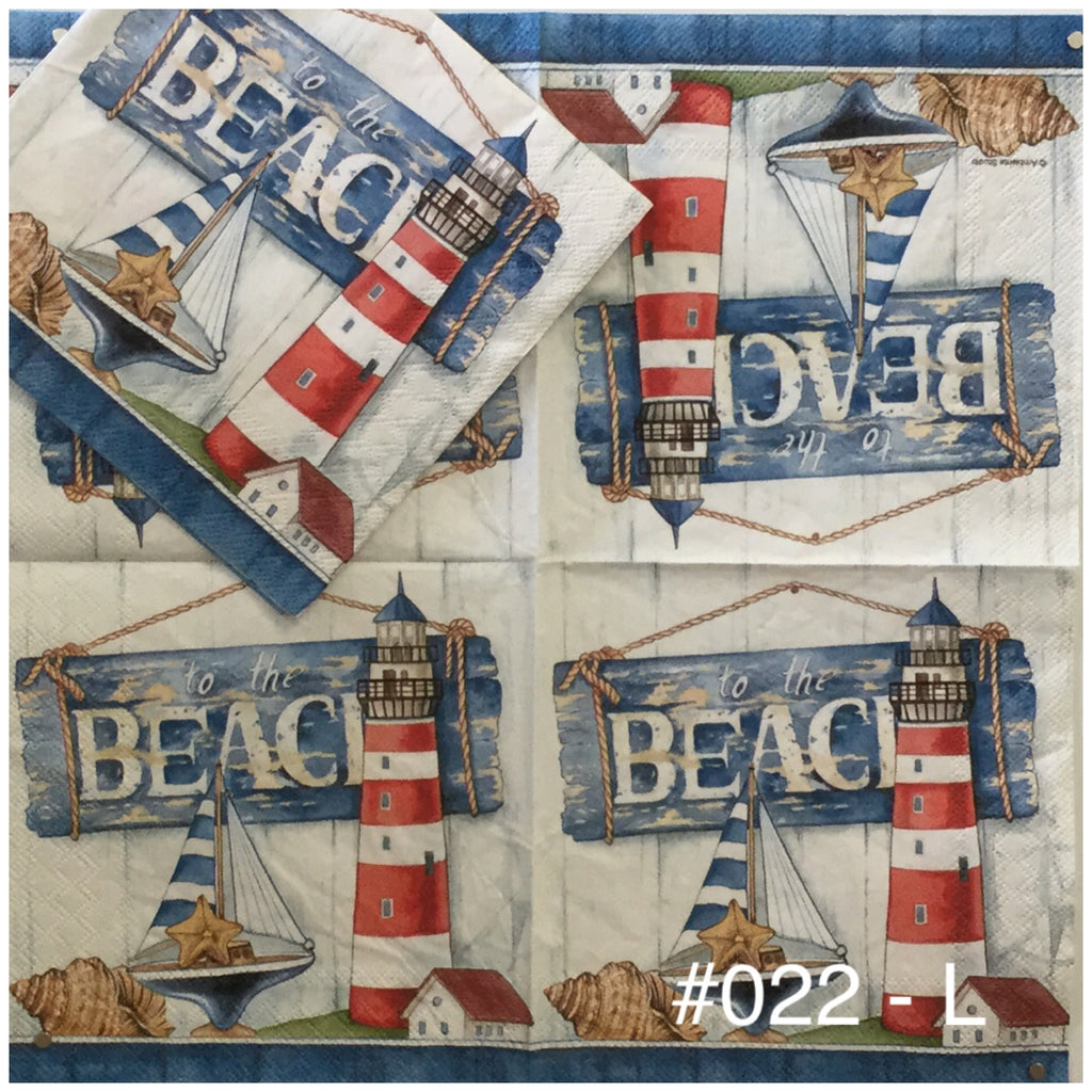 NS-022 Beach Sign Lighthouse Napkin for Decoupage