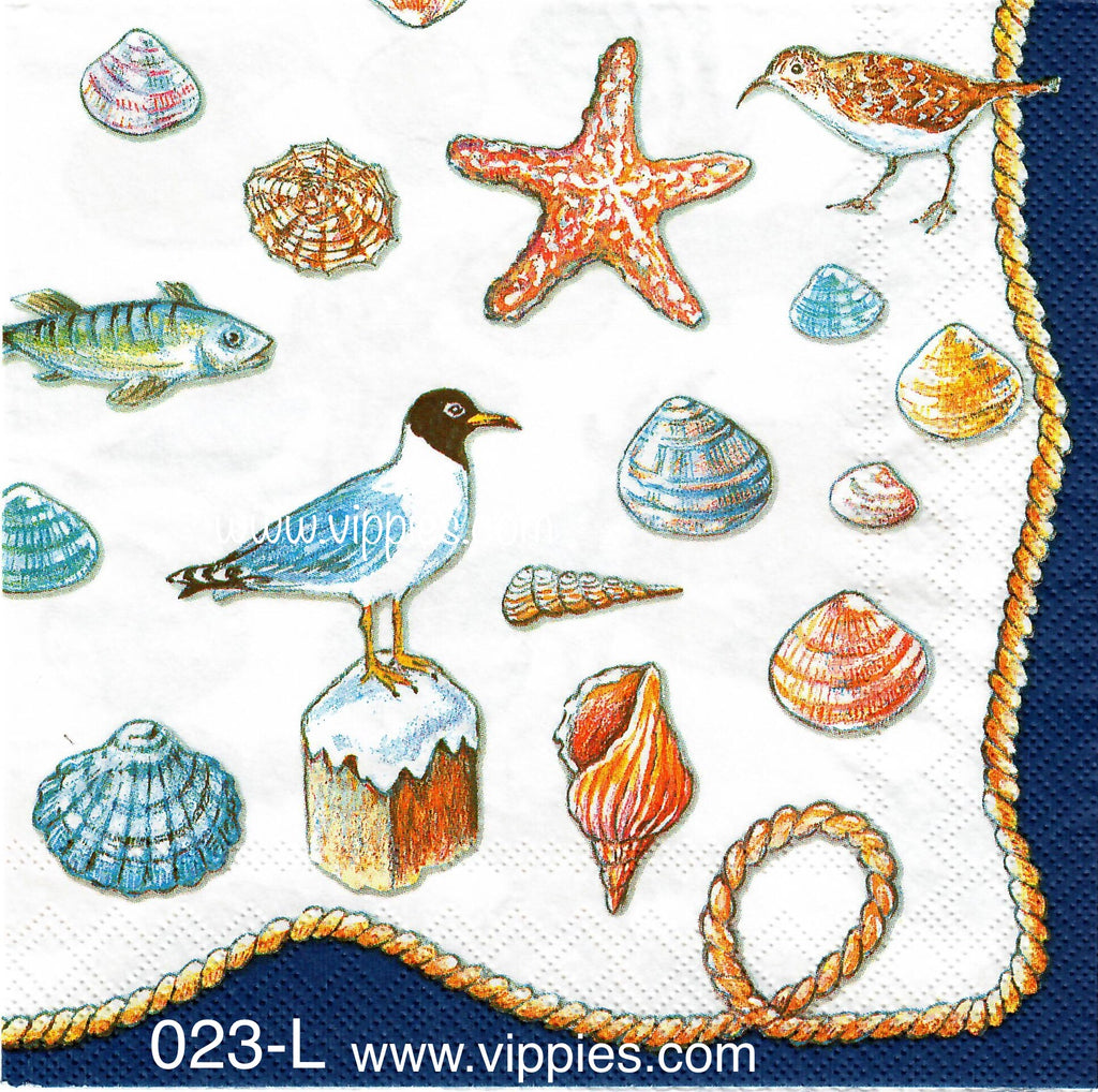 NS-023 Shells Seagull Napkin for Decoupage