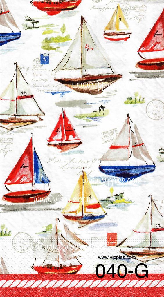 NS-040 Sailboats Only Napkin for Decoupage