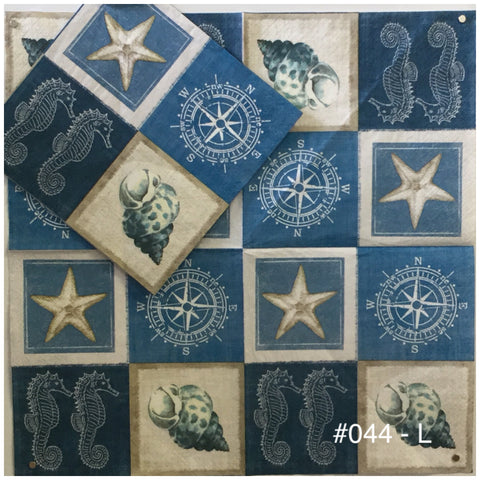 NS-044 Blue Compass Stars Napkin for Decoupage