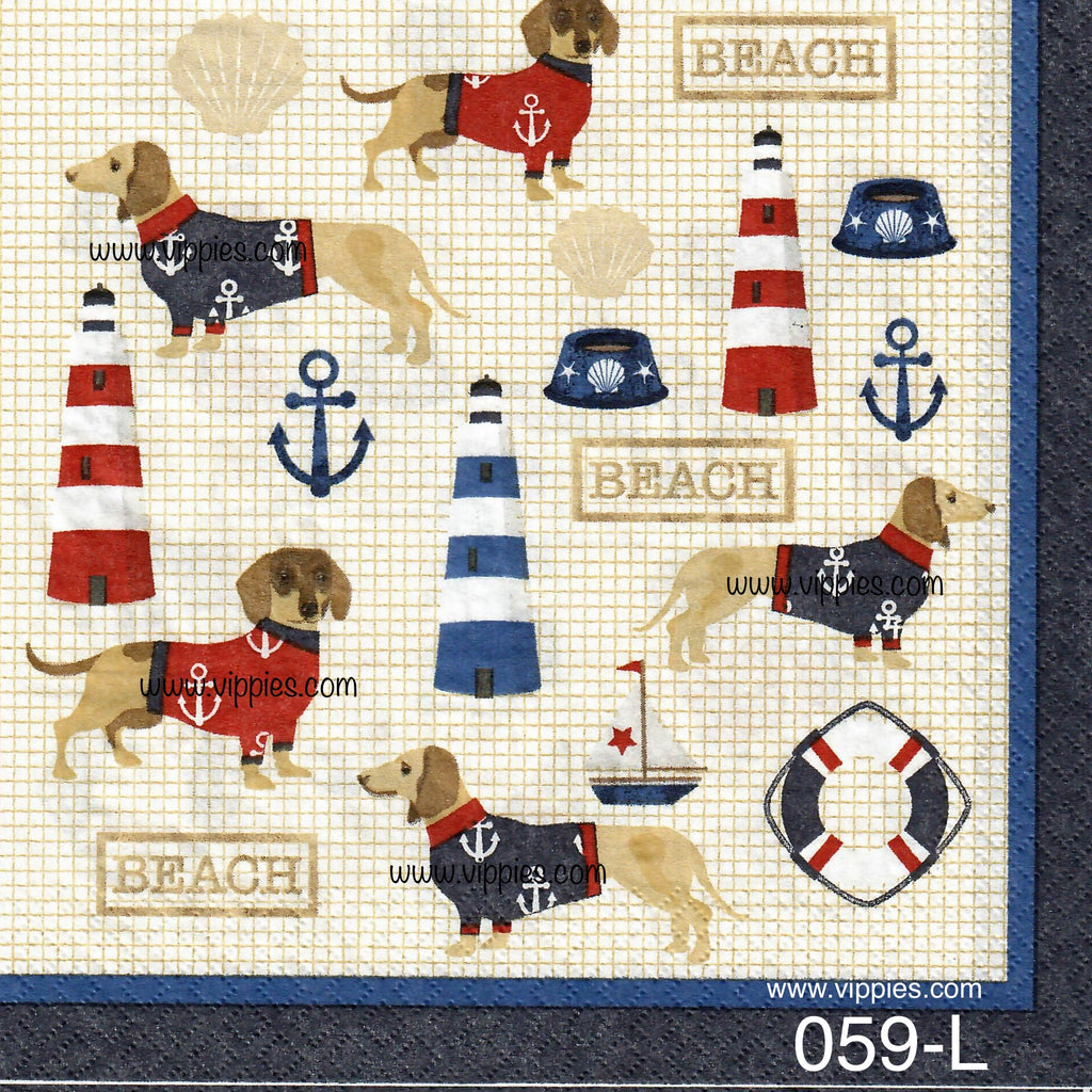NS-059 Nautical Dogs Napkin for Decoupage