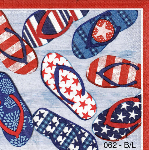 PAT-062 Flip Flops USA Napkin for Decoupage