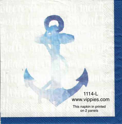 NS-1114-L Large Blue Anchor Napkin for Decoupage