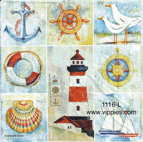NS-1116 Nautical Quilt Napkin for Decoupage