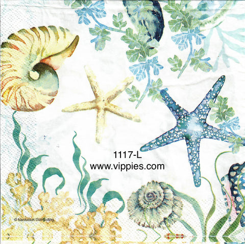 NS-1117-L Undersea Shells and Starfish Napkin for Decoupage