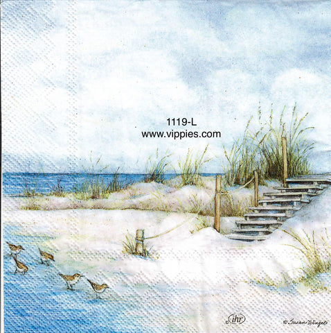NS-1119 Seaside Stairs Gulls Napkin for Decoupage