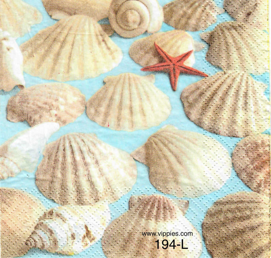 NS-194 Realistic Seashells Napkin for Decoupage