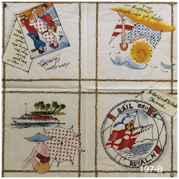 NS-197 Travel Sketches Napkin for Decoupage