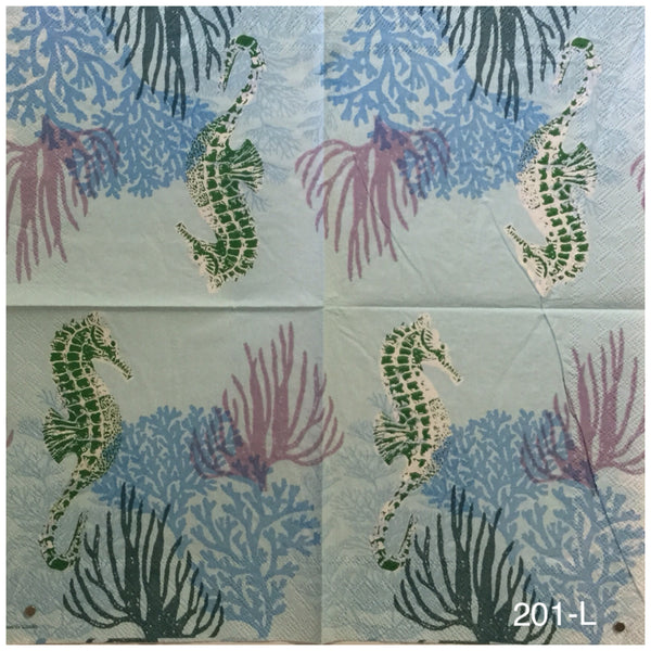 NS-201 Seahorse Coral Napkin for Decoupage