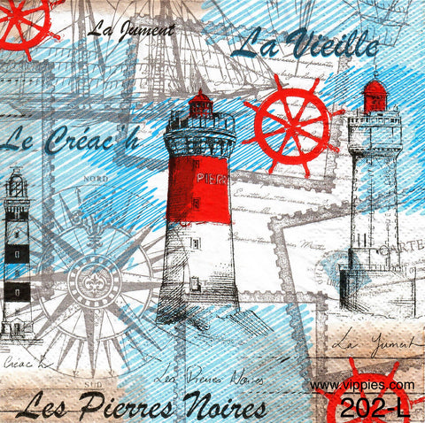 NS-202 French Lighthouse Napkin for Decoupage