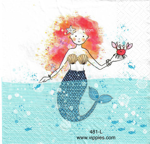 NS-481-Red Hair Mermaid Napkin for Decoupage