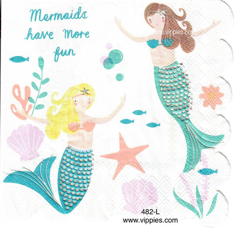 NS-482 Mermaids Have Fun Napkin for Decoupage