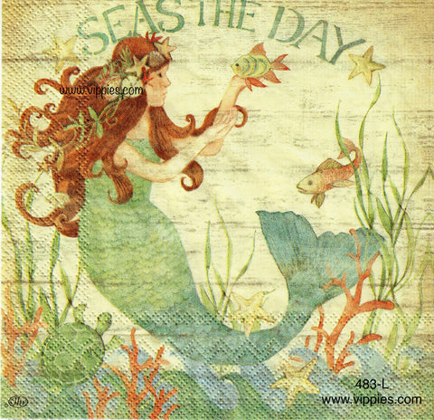 NS-483 Seas Day Mermaid Napkin for Decoupage