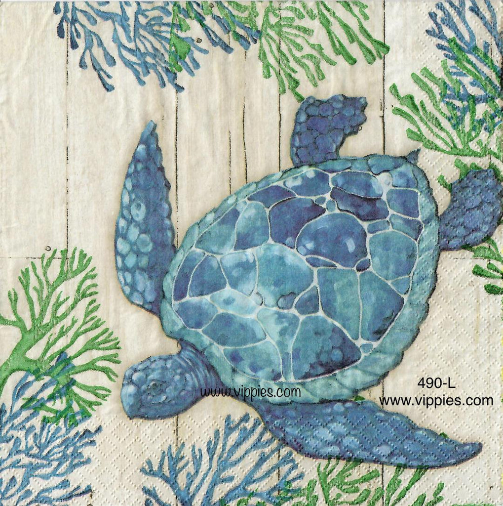 NS-490 Coral Turtle Napkin for Decoupage