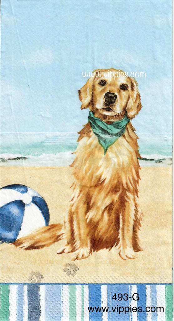 NS-493 Dogs on Beach Guest Napkin for Decoupage