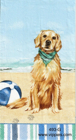 NS-493 Dog on Beach Guest Napkin for Decoupage