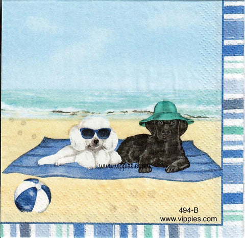 NS-494 Two Dogs on Beach Napkin for Decoupage