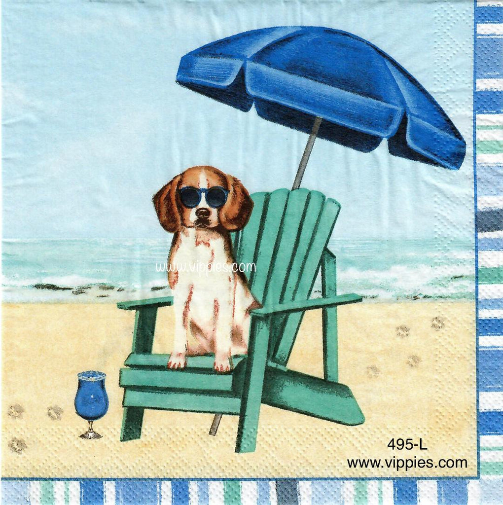 NS-495 Dog Beach Chair Napkin for Decoupage