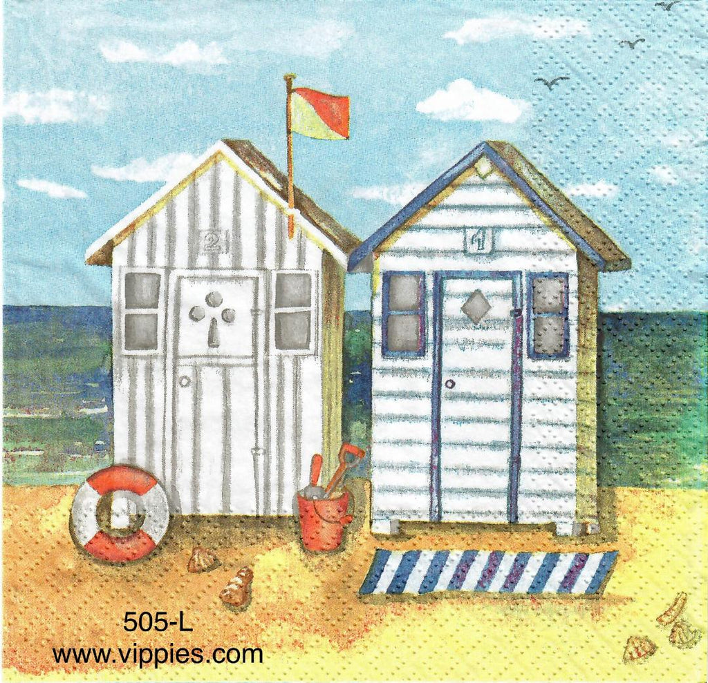NS-505 Beach Cabanas Napkin for Decoupage