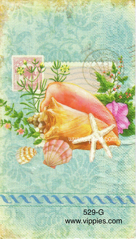 NS-529 Shells Blue Background Guest Napkin for Decoupage