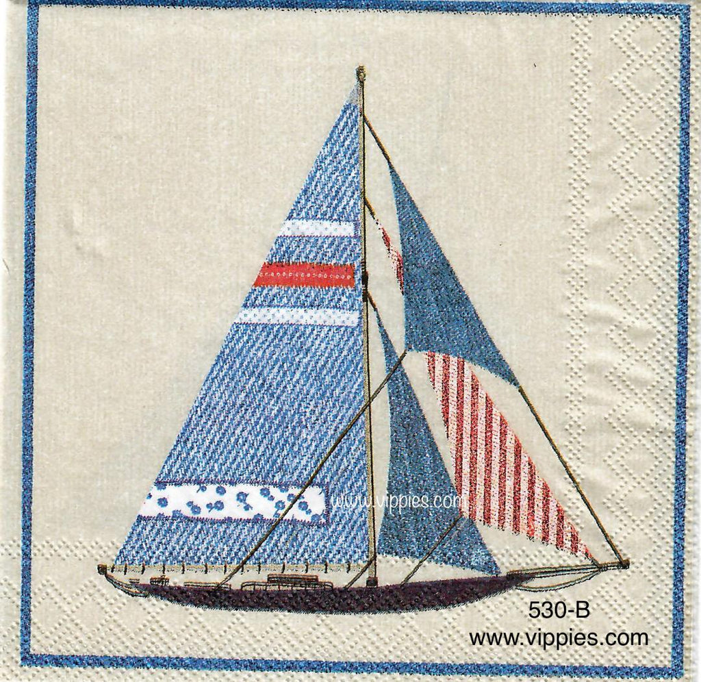 NS-530 Patriotic Sailboat Napkin for Decoupage