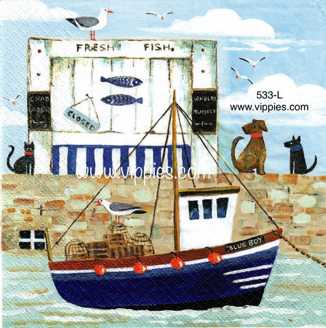 NS-533 Tugboat Dogs Napkin for Decoupage