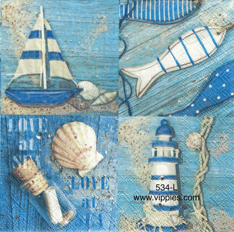 NS-534 Nautical Squares Napkin for Decoupage