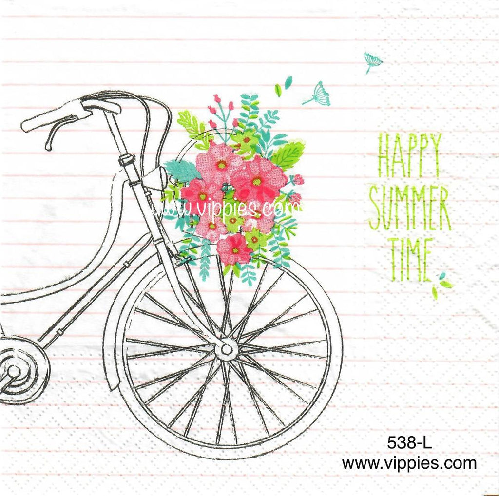 NS-538 Bike Happy Summer Napkin for Decoupage