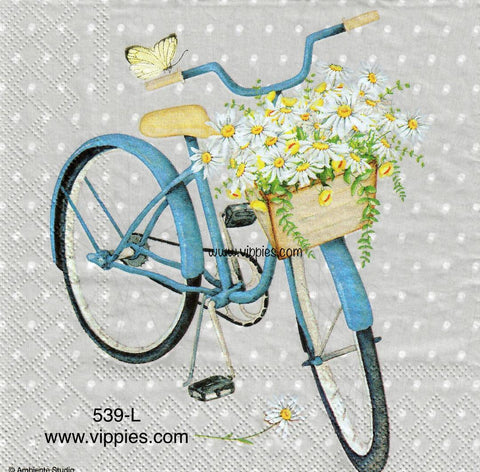 NS-539 Blue Bike Daisies Napkin for Decoupage